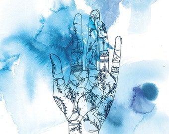 Blue Wash Hand Archival Wall Art Print blue ink