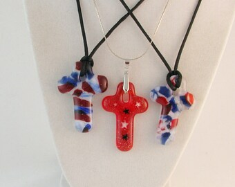 4th of July - Patriotic fused glass CROSS pendant - OOAK - Red - White - Blue necklace  (3719, 3723, 3724)