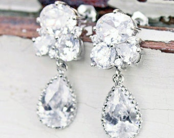 Rhinestone Bridal Dangle Earrings by Virginiageigerjewels