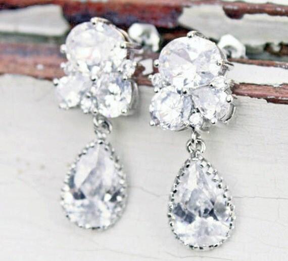 Rhinestone Bridal Dangle Earrings by Virginiageigerjewels