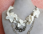 Necklace RePurposed Vintage Jewelry Lace Details