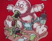 Vintage 90's Garbage Pail Kids GPK UP CHUCK tshirt