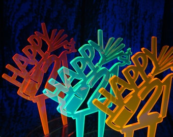 21st Birthday Cake Topper NEON, Champagne Celebration Twenty-One Black Light Neon Acrylic *Original Design*