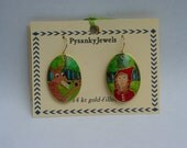 Big Bad Wolf and Red Riding Hood goose egg pysanky pysanka earring