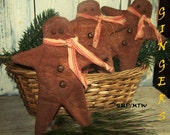 Primitive Gingerbread Men,Rustic,Grubby,Bowl Fillers,Ornies set of 3,Christmas,Holidays,Primitive Christmas,OFG TEAM