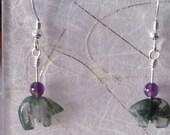 Moss Agate Zuni Bear Earrings