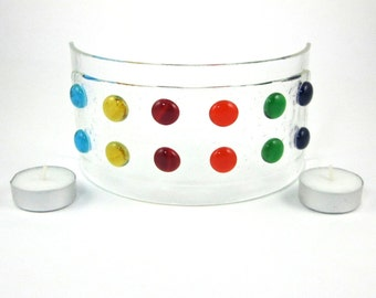 Colorful Polka Dot Candle Screen - Fused Glass Candle Holder - Medium