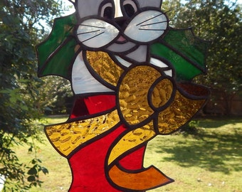 Christmas Stocking Kitten Stained Glass Suncatcher