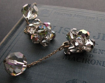 Vintage vitrail crystal clip on dangle earrings