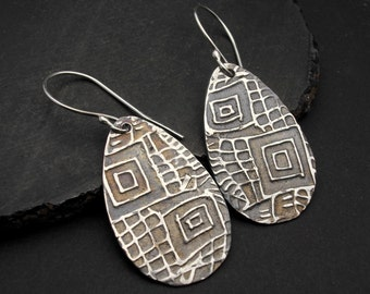 Earrings,silver, teardrop, artisan, handmade Designs by Suzyn Sterling Silver Teardrop Earrings