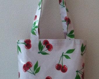 Beth's Cherry Cherries Oilcloth Book Bag