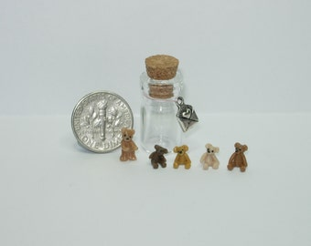 Set of 5 micro teddy bears in tiny glass jar suitable for all dolls house scales