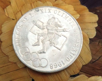 1968 Olympics Commem Mexican Silver Coin #102