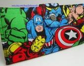 SALE - Handmade Long fandom geek Wallet  BiFold Clutch - Vegan Wallet - Super Comic Hero wallet