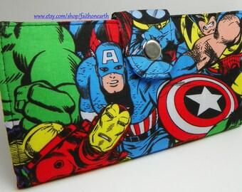 Handmade Long fandom geek Wallet  BiFold Clutch - Vegan Wallet - Super Comic Hero wallet