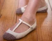 Download Now - CROCHET PATTERN Skimmer T-Strap Ballet Flats Slippers - Pattern PDF