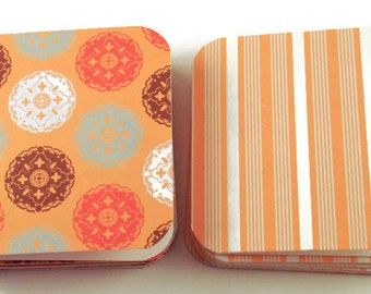 Mini Note Card Set in Medallions and Stripes