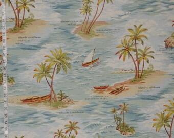 Retro Hawaiian fabric tropical Caribbean ocean island travel interior decorating material 1 yard