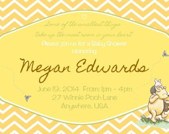 Winnie the Pooh Baby Shower Invitations with Matching Thank You Cards
