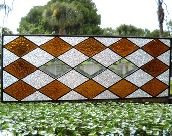 Stained Glass Window Panel, Traditional Diamond Block Quilt, Beveled Stained Glass Panel, Earthtone Gold & Textures, OOAK Window Transom Art