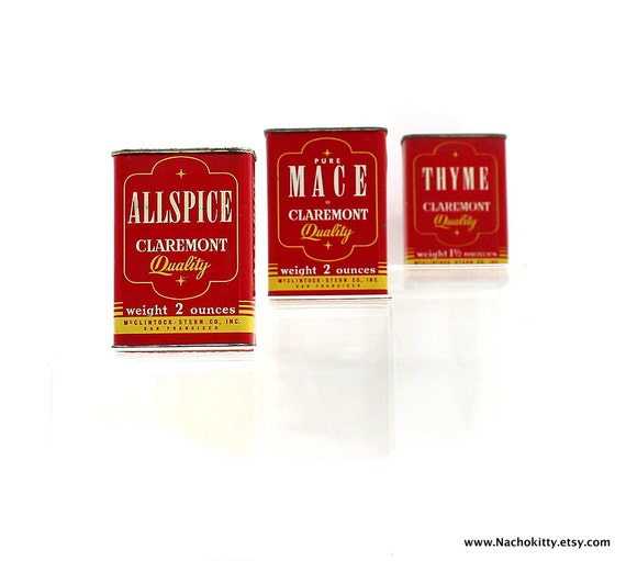 1950s spice tins vintage kitchen storage by barnowlgoods for Retro kitchen set of 6 spice tins