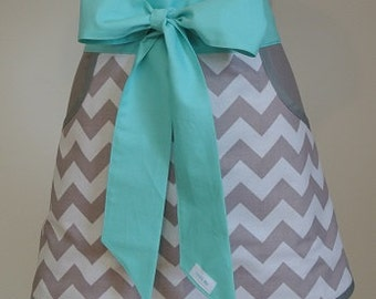 Gray Chevron with Teal Trim Adult Half Apron with Pockets