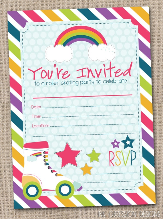 Vibrant image regarding free printable roller skate party invitations