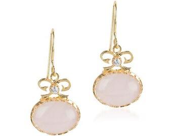 Pink Quartz Bow Earrings