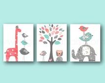 Coral and Turquoise Baby Girl Nursery Decor Elephant Giraffe Tree Birds Baby Nursery Wall Art Set of three prints