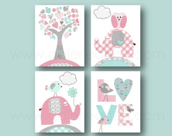 Pink turquoise and gray Nursery Art Print nursery art baby nursery kids art nursery art love Birds elephant tree Set of 4 prints