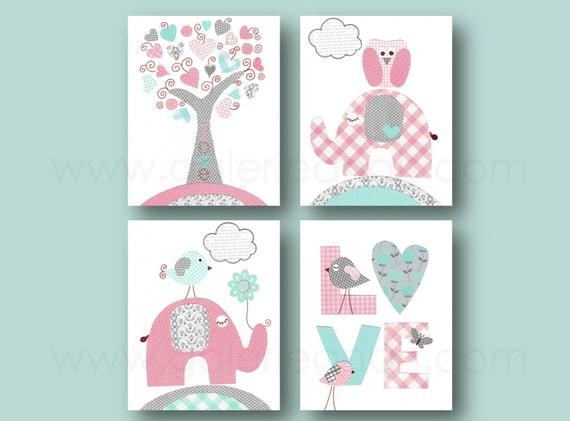 Rosa türkis und grau kunstdruck kinderzimmer von galerieanais