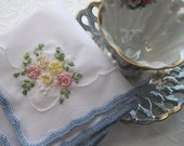 Vintage Inspired Wedding Memento Hankie Mother of the Bride Embroidered Silk Ribbon As Seen At Martha Stewart Wedding Party handcraftusa