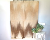 Vintage 70s hand woven wall hanging. Huge 1970s fiber arts weaving. Abstract chevrons. Wheat, tea, espresso alpaca. Retro modern textile