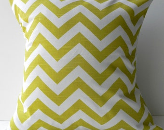 New 18x18 inch Designer Handmade Pillow Case in citron chevron pattern