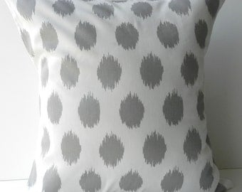New 18x18 inch Designer Handmade Pillow Cases in grey ikat dot