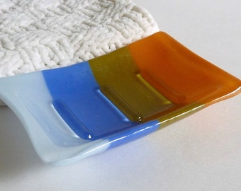 Fused Glass Soap Dish in Blue and Gold Tones