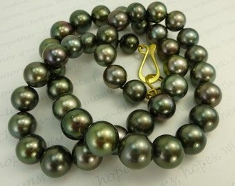Black Tahitian Pearl Necklace 18K Statement Classic Round Elegant Gorgeous Unique Exotic Hand Knotted in USA Green Power Strand
