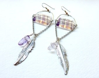 Fluorite Feather Statement Earrings. Bohemian Cosmic Crystals. SALE