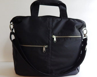 Sale - Black water resistant tote, purse, messenger bag, diaper bag, travel bag, gym bag, overnight bag,school bag - VIVIENNE