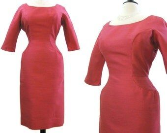 60s Dress Vintage Deep Pink Hourglass Wiggle MadMen Day to Evening M L