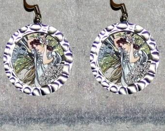 Alphonse Mucha SUMMER June Earrings