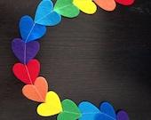 Rainbow Felt Heart Garland - Photo Prop - Party Decoration