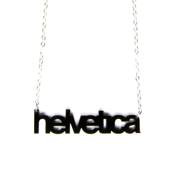 SALE - helvetica typography acrylic necklace - black