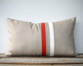 Orange and Cream Striped Lumbar Pillow (12x20) Modern Home Decor by JillianReneDecor - Minimal - Summer - Orange Pillow Cover (More Colors)