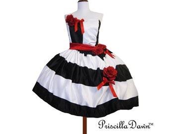 Summer sALE Custom black and Red Tim Burton inspired Cocktail  dress