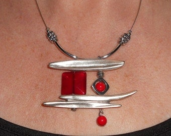 Red necklace, asymmetric necklace, statement necklace, silver link necklace, modern necklace, gift for her, boho chic jewelry, metal jewelry