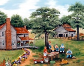 Country Memories Watermelons Red Wagon Barn Farm House Flowers Dog Green Trees Fence Folk Art Landscape by Arie Reinhardt Taylor
