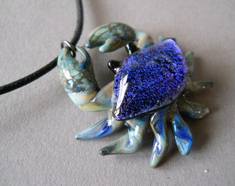 Blue Beach Crab Necklace Pendant