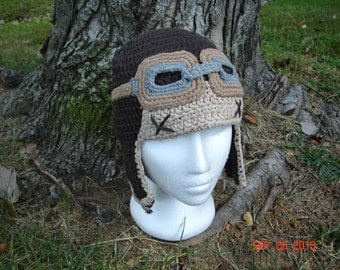 Ready to ship! SALE Crochet Aviator / Bomber Hat with Flying goggles
