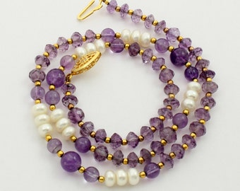 Vintage Natural Amethyst Genuine Amethyst Gemstone Amethyst Necklace with Faceted Amethyst Beads and Fresh Water Pearls, Estate Jewelry